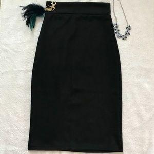 Black High Waist Bodycon Pencil Skirt